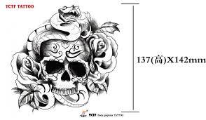 temporary shoulder tattoos sticker snake skull transfer