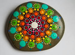 Rainbow Home Decor by Rainbow Mandala Stone Painted Rocks Colorful Dot Art Painting