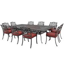 villa flora 11 piece cast aluminum patio dining set w rectangular