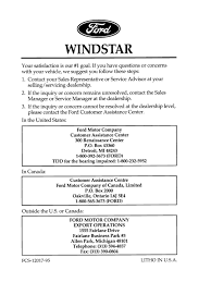1996 ford windstar owners manual airbag seat belt