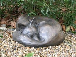 sculpture sleeping fox bronze dozing size curled up statue
