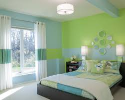 home design wall paint color combination ideas with pop green