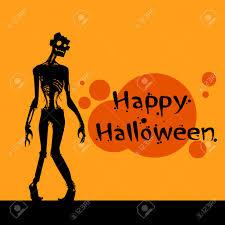 zombie scary cartoon character happy halloween banner walking