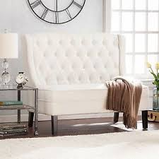 high back settee loveseat upholstered bench tufted ivory armless