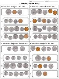 money count and compare coins quarters dimes nickels pennies