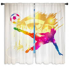 Soccer Curtains Valance Soccer Window Curtains Custom Sizes