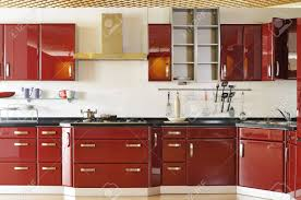 modern kitchen cabinet door modern kitchen cabinet door a deep red stock photo picture and