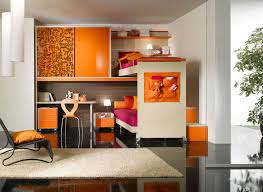 plush bedroom for kids with cool bunk bed ideas and blue white stunning cool bunk bed ideas with orange cabinets and small study desk