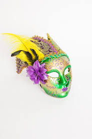 mardi gras feathers 9 x 6 25 mask w feathers brocade fabric and a flower