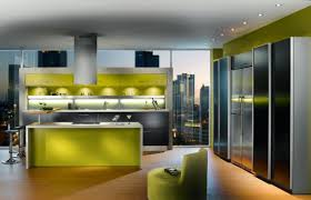 kitchen beautiful sleek green wall interior color decor lighting