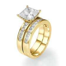 gold bridal sets 2 3 ct princess cut diamond bridal ring set 14k gold couplez