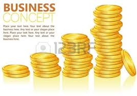 concept success in business with coins and graph template for