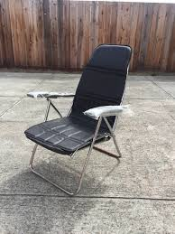 rare vintage black and chrome reclining folding chair retro atomic