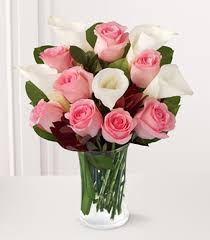 Vase With Roses Pink Roses And Calla Lilies 1 800 Florals Next Day Flowers