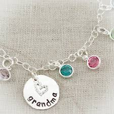 grandmother birthstone necklace or grandmother charm anklet