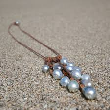 leather necklace with pearl images St barts grey pearls and leather necklace tahitian cultured jpg