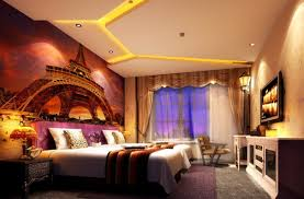 interior luxurious retro hotel bedroom come with awesome eiffel