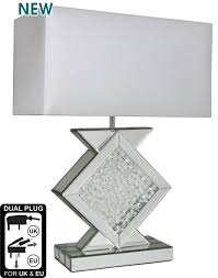White Table Lamps Buy Alice Mirror Table Lamp With Rectangular 17inch White Shade