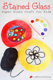 Kids Stained Glass Craft - beautiful stained glass paper plate craft for kids