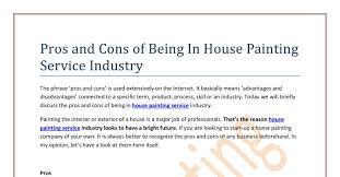 pros and cons of being in house painting service industry pdf