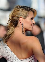 front view of side swept hairstyles a back view of heidi klum s side swept hairstyle with rolls