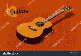 isometric acoustic guitar banner on orange stock vector 575125546