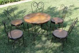 ice cream parlor table and chairs set 6 piece ice cream parlor table chairs copper oak antique bistro