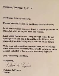dad writes amusing tardy note for daughter after bruce springsteen