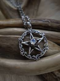 silver gothic necklace images Pentacle necklace with faceted labradorite in sterling silver JPG