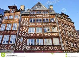 normandy tudor medieval houses in rennes france editorial stock