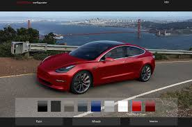 tesla model 3 configurator lets you see car in different colors