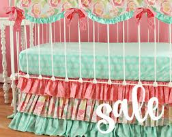 Coral And Mint Bedding Coral Baby Bedding Etsy