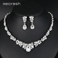 crystal bridal necklace sets images Mecresh silver color rhinestone bridal jewelry sets classic jpg