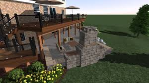 deck stairs patio and fireplace in a 3d landscape design youtube