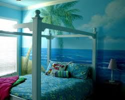 bedroom bedroom with beach mural on the wall and also floral bedroom with beach mural on the wall and also floral pattern fabric bed cover next to the simple night lamp on wooden cabinet for beach theme bedroom ideas