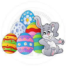 cartoon easter bunny resting on easter eggs by clairev toon