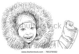 sketch smiling hand wearing clothes stock vector 765376579