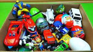box full of toys kinder joy surprise eggs disney cars 3 ligtning
