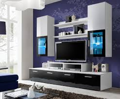 Modular Wall Units 200 Cm Width Black And White Entertainment Center Toledo 2