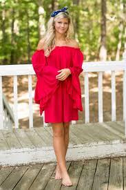 cute red dress off the shoulder dress bell sleeve dress 32 00