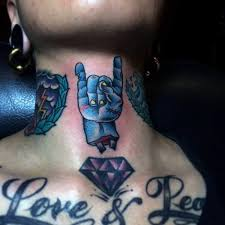 tattoo old school diamond old school colored zombie hand tattoo on neck with violet diamond