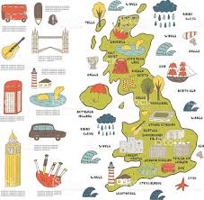 Wales England Map by Cute Hand Drawn Doodle Map Of England Stock Vector Art 513426376