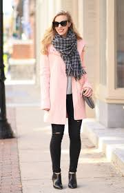 blush u0026 black pink cocoon coat houndstooth scarf u0026 distressed