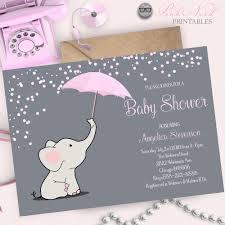 pink elephant baby shower invitation elephant holding umbrella