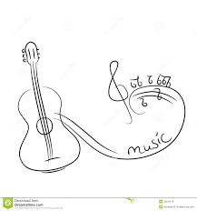 sketch of a guitar with notes stock images image 35315514