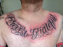 tattoos writing images writing mens script chest