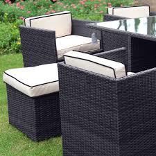 6 Seat Patio Dining Set - richmond verano cube 6 black rattan garden dining set leader stores