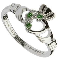 claddagh ring claddagh ring sterling silver claddagh with green and cz