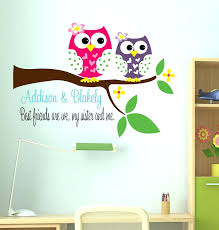 wall ideas owl decal sisters wall decal with owl name wall decal