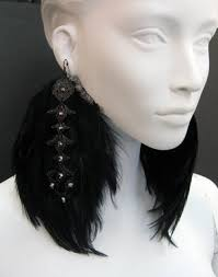 black feather earrings marianna harutunian black feather earrings with black swarovski